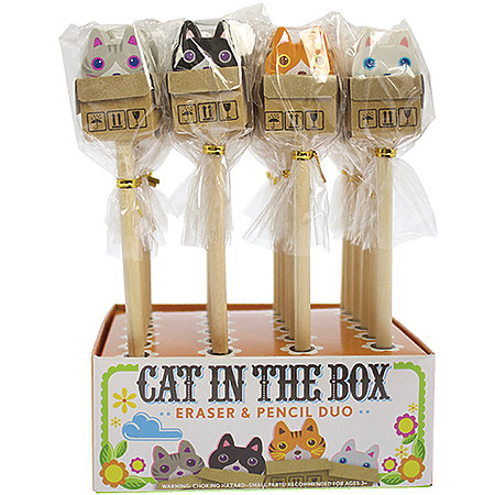 Cat in The Box Eraser & Pencil Duo P.O.P. Display