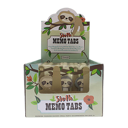 Sloth Sticky Memo Tabs P.O.P. Display
